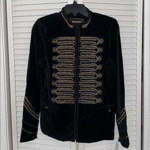 New woman's blank nyc black velvet jacket w gold.